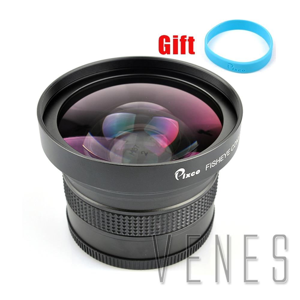 лучшая цена Pixco 67mm 0.25X Super Fisheye Wide Angle Lens+with Lens wrist strap
