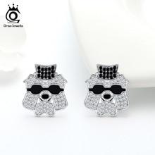 Stud-Earrings Jewelry Fashion Male Silver ORSA Bulldog-Shape Punk-Style Cool ASE124 Unisex
