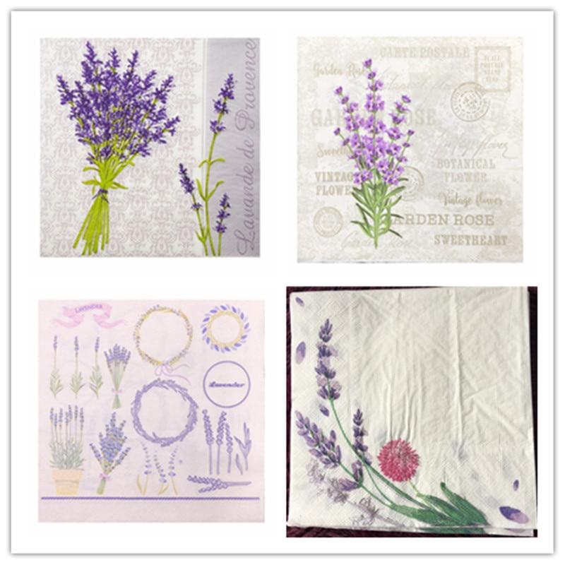 20 Table Vintage Napkins Paper Tissue Printed Purple Flower Lavender Handkerchief Decoupage Servilletas Wedding Party Decor Mat