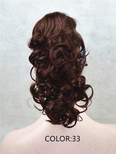 Image 2 - יופי חזקות Piece הארכת שיער סינטטי בינוני ארוך טופר קליפ ב/על 12 inches פאה מתולתל קוקו 43 צבעים