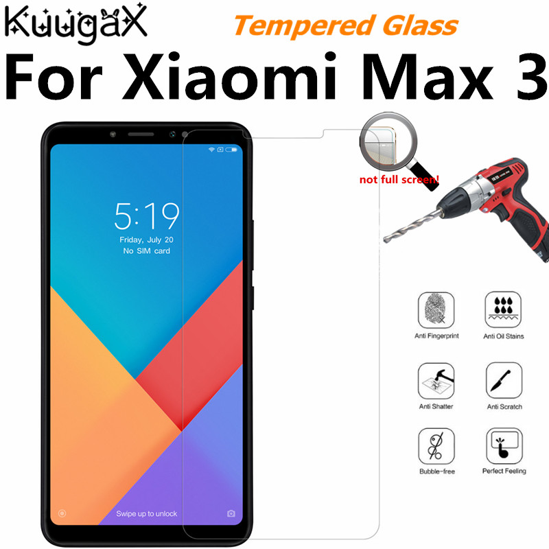 Tempered Glass For Original <font><b>Xiaomi</b></font> Mi Max 3 6GB RAM <font><b>128GB</b></font> ROM max3 9H smart phone Screen Protector Film on Toughened display image