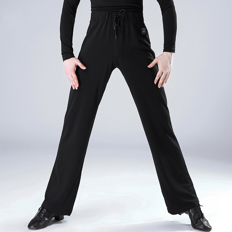 New Latin Dance Pants Men Ballroom Trousers Male Adult Modern Tango Rumba Dancing Practice Clothes Black Wide Leg Pant DN1289