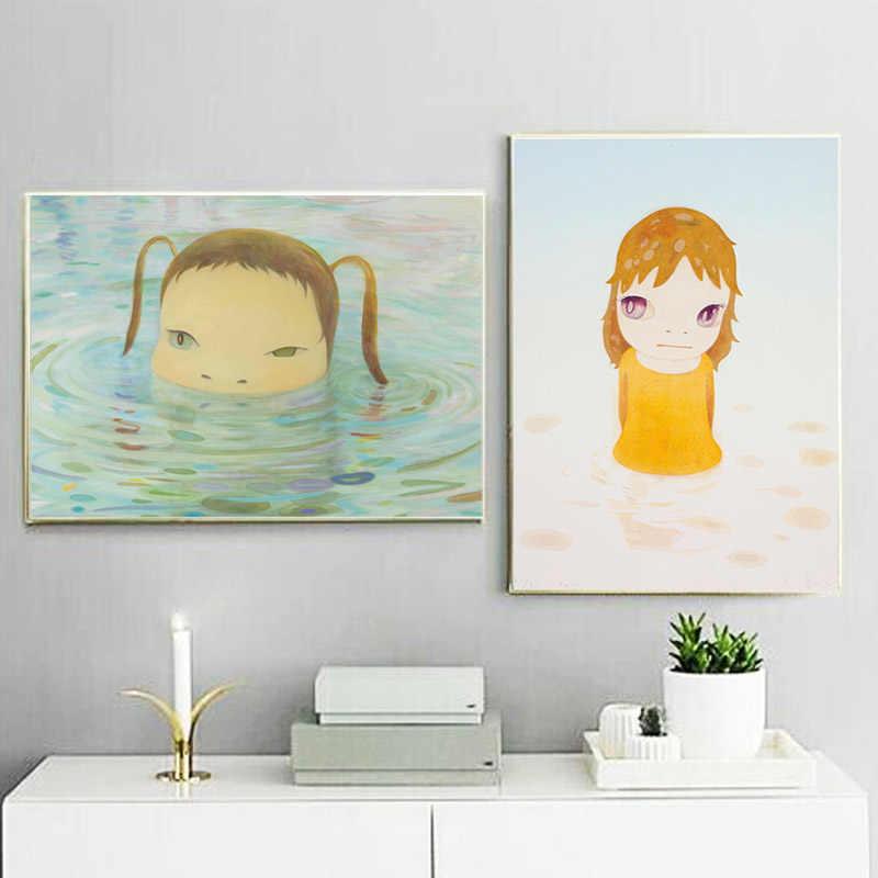 Yoshiomos Naraer Sur L Arc En Ciel Dessin Animé Fille Art Toile Affiche Peinture Huile Mur Photo Impression Maison Chambre Décor Cadre