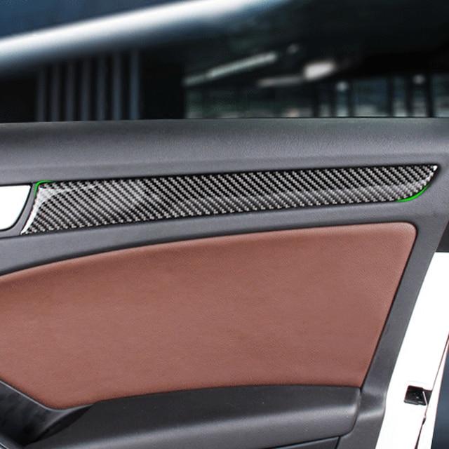 Araba karbon Fiber pencere kapı paneli Trim için Audi A4 B8 A5 2010 2011 2012 2013 2014 2015 2016