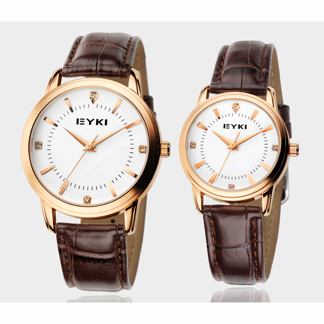New Luxury Eyki Brand Quartz Couple Tables Fashion Fine Leather Strap Rhinestone Scale Waterproof Lovers Watch Business Watches