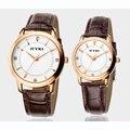 Novo luxo marca eyki quartzo tabelas casal amantes de moda fina pulseira de couro strass escala à prova d' água relógio de negócios relógios