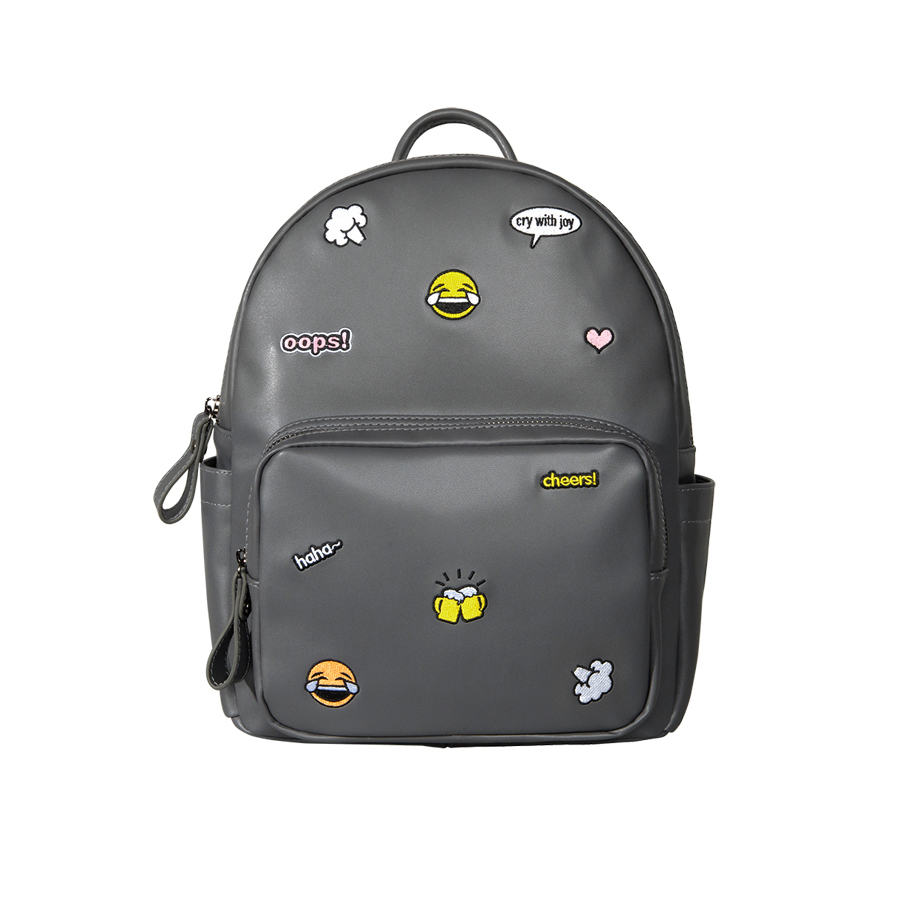Kiitos Life Casual PU leather grey embroidery backpacks for girls in ICON series(FUN KIK store)