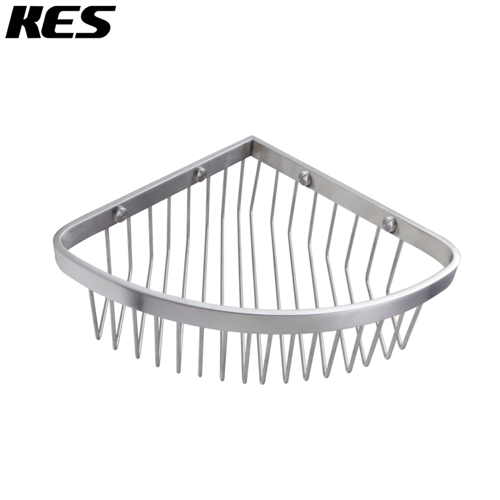 KES SOLID SUS 304 Stainless Steel Bathroom Corner Triangular Tub And Shower  Caddy Basket Wall Mount