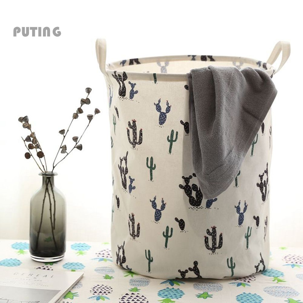 Zakka Pineapple Cactus Large Laundry Bag Folding Children Play Mat Toy Storage Boxes Clothes Basket Sundries Organizer CZL8170
