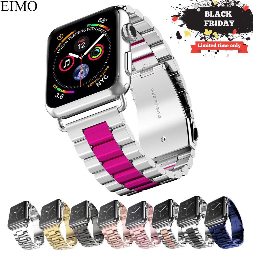 EIMO Stainless Steel Strap For Apple Watch band 42mm 44mm Iwatch Series 4 3 2 1 40mm 38mm Classic Link Bracelet Wrist Watchband цена