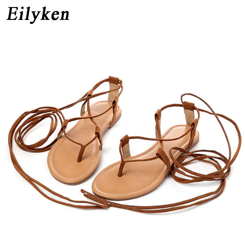 Eilyken Summer Roman Sandals Multiple Cross Strap tall knee high Bondage Thong Nubuck Women Sandals Flip Innrech Market.com