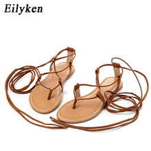 Eilyken Summer Roman Sandals Multiple Cross-Strap tall knee high Bondage Thong Nubuck Women Sandals Flip flops Black Apricot