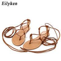 Sandalias romanas de verano Eilyken múltiples correas cruzadas altas hasta la rodilla Tanga de Bondage nobuck mujeres sandalias chanclas negro albaricoque