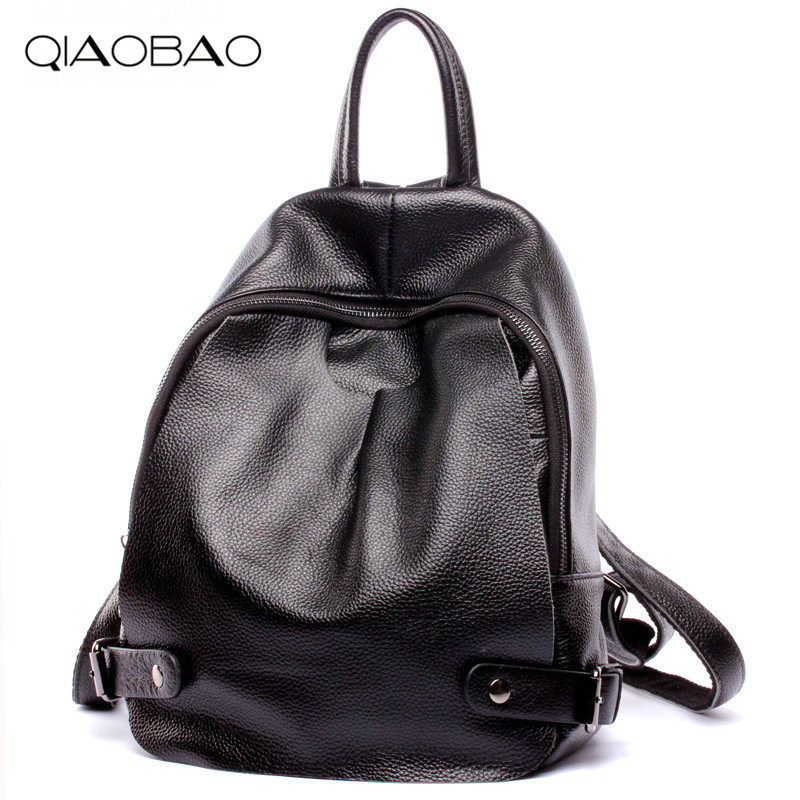 QIAOBAO New Brand Designer Fashion Black 100% Natural Cowhide Leather Women Backpacks Preppy Style School Bag for Women qiaobao 100