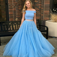 Verngo Комплект синего цвета вечерние платья вечерние длинные Для женщин два комплект из 2 предметов, с жемчужинами, платье на выпускной, торже