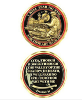 cheap custom Psalms Will Fear No Evil Challenge Coin low price custom zinc alloy coins hot sales both sides 3d coins