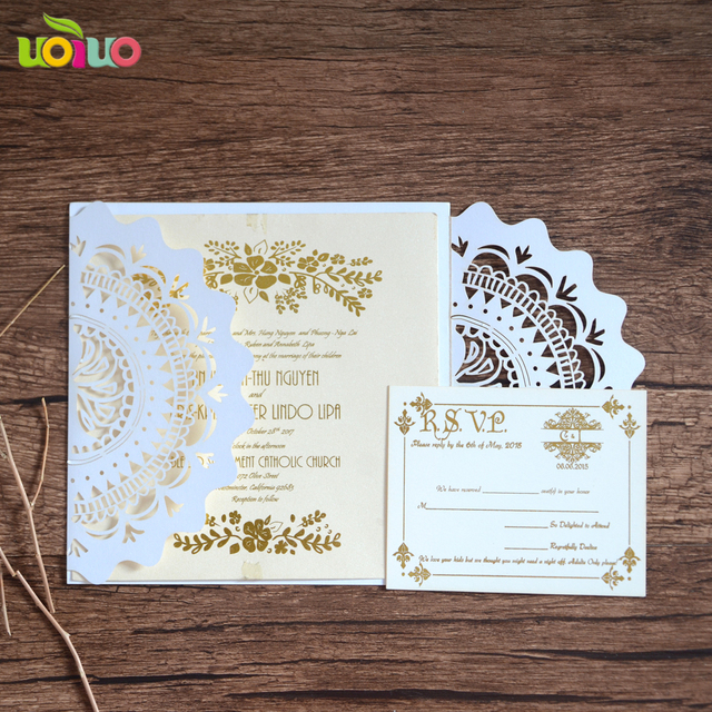 Aliexpress buy 50pc glossy paper craft laser cut business 50pc glossy paper craft laser cut business party birthday invitations card country style foldedromantic wedding invitation filmwisefo