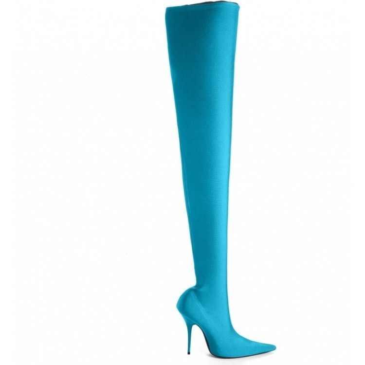 ARQA 2019 Kış Yaz Seksi Uyluk Yüksek Çizmeler Saten Streç Elastik Diz Gökyüzü Ince Yüksek Topuklu Uzun çizmeler kadın ayakkabıları