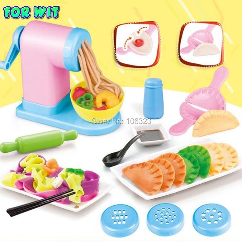 2018 nuevo 3D Color arcilla no tóxico plastilina herramienta de modelado de Kit de máquina de fideos albóndigas fabricante comida China plastilina juguete