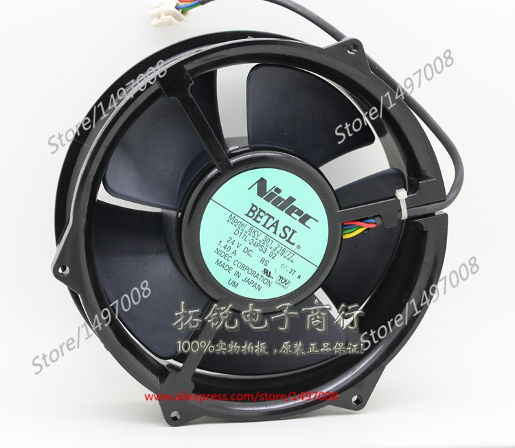 Free Shipping For Nidec  BKV301 216/77  DC 24V 1.40A 4-wire 4-pin connector 90mm, 170x170x50mm Server Square fan free shipping for nidec l34689 57 eps dc 12v 0 20a 80x80x25mm 3 wire server square cooling fan