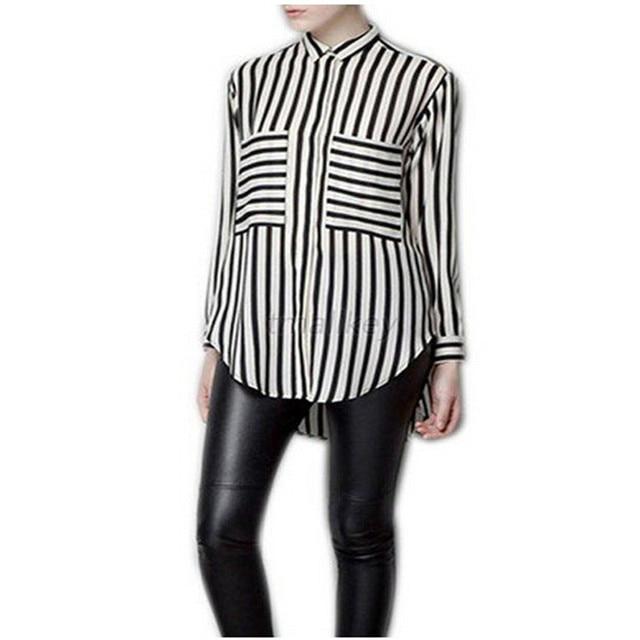cad987c3 Hot Sale Summer Women Fashion Long Sleeve Vertical Striped Chiffon Tops  Button Down Shirt Blouse New