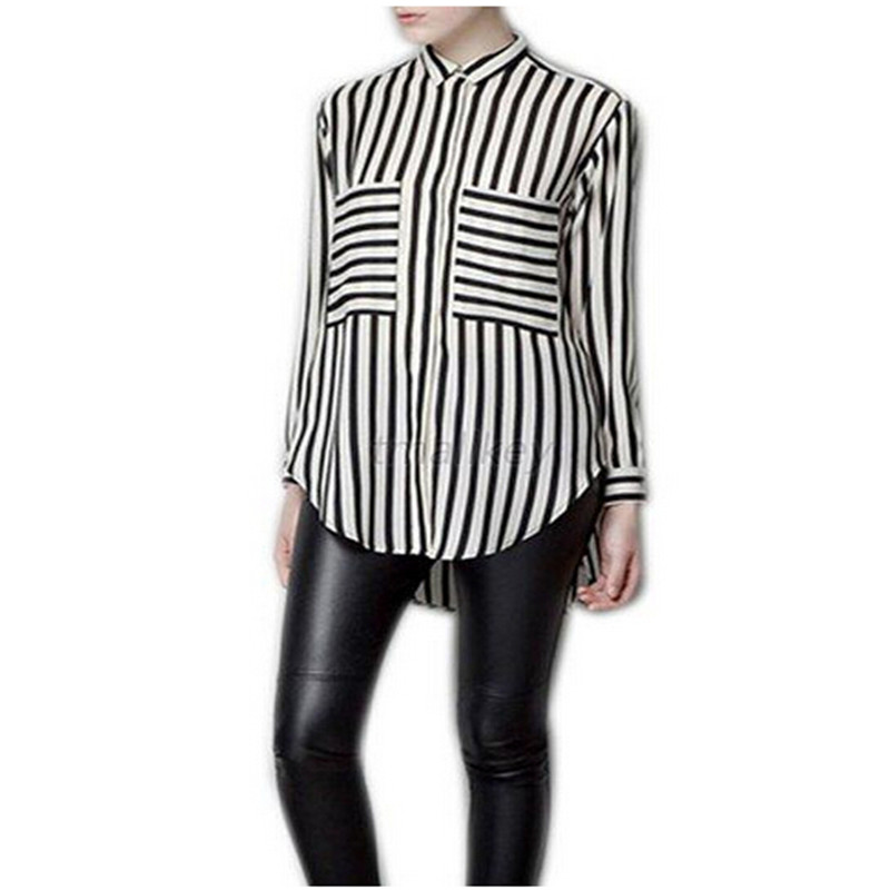 Hot Sale Summer Women Fashion Long Sleeve Vertical Striped Chiffon Tops Button Down Shir ...