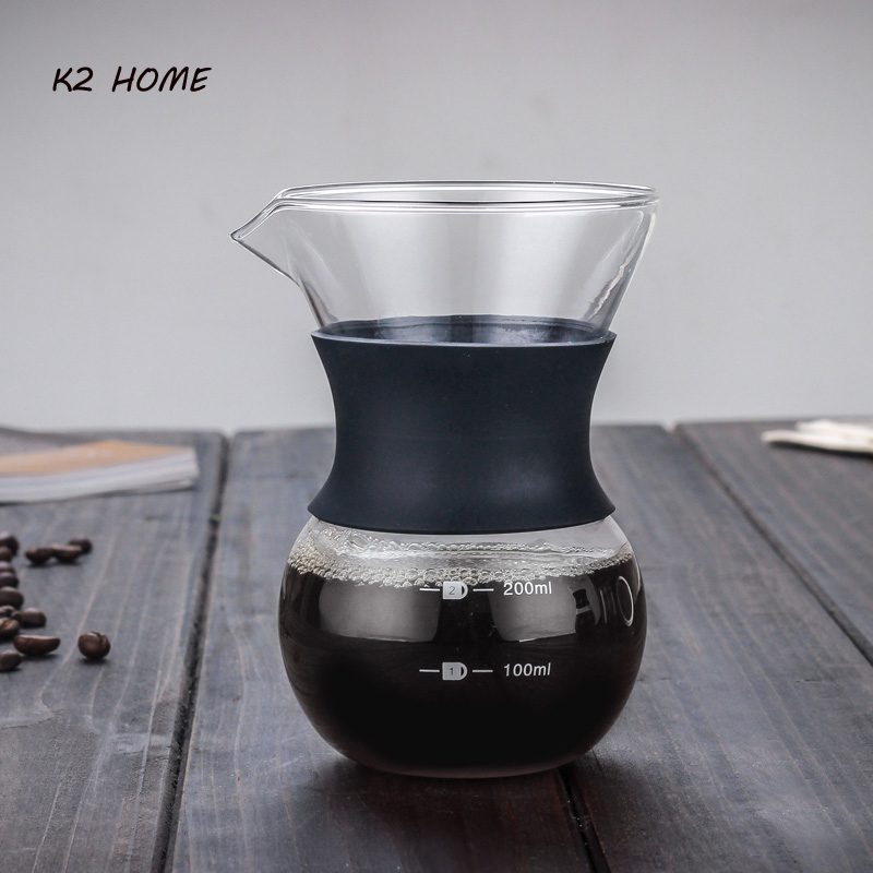 K2 HOME Pour Over Coffee Maker Reusable Stainless Steel Mesh Glass Filter Dripper
