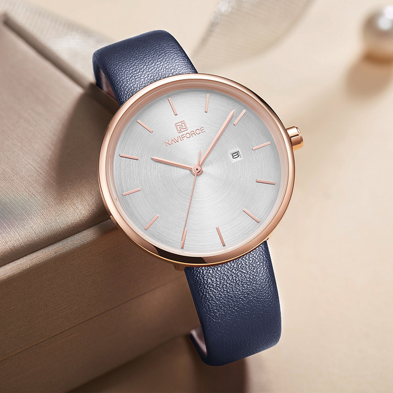 NAVIFORCE Women's Watch Fashion Casual Leather Watches Waterproof Top Brand Luxury Wristwatch Ladies Girl Clock Relogio Feminino