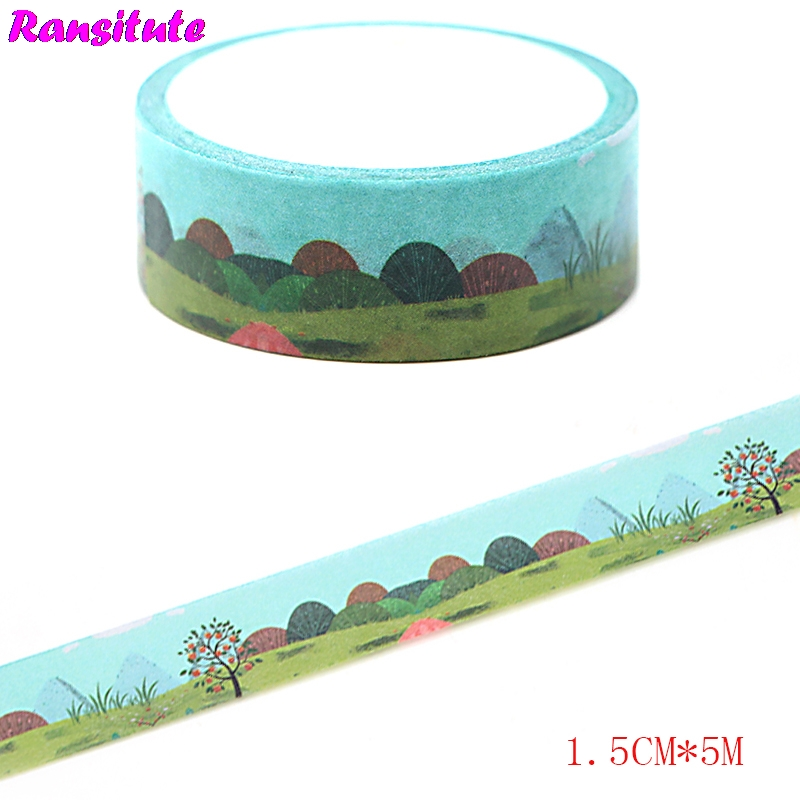 Ransitute R436  Summer Solstice Color Washi Paper Tape Manual DIY Decorative Color Paper Tape School Supplies