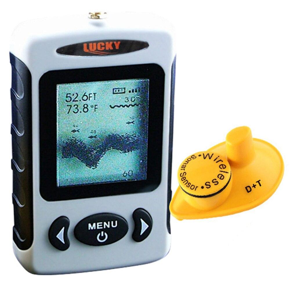 LUCKY FFW-718 Digital Wireless Dot Matrix Fish Finder Fishfinder Sonar Radio Sea Bed Contour Live Update w/ Alarm 45M