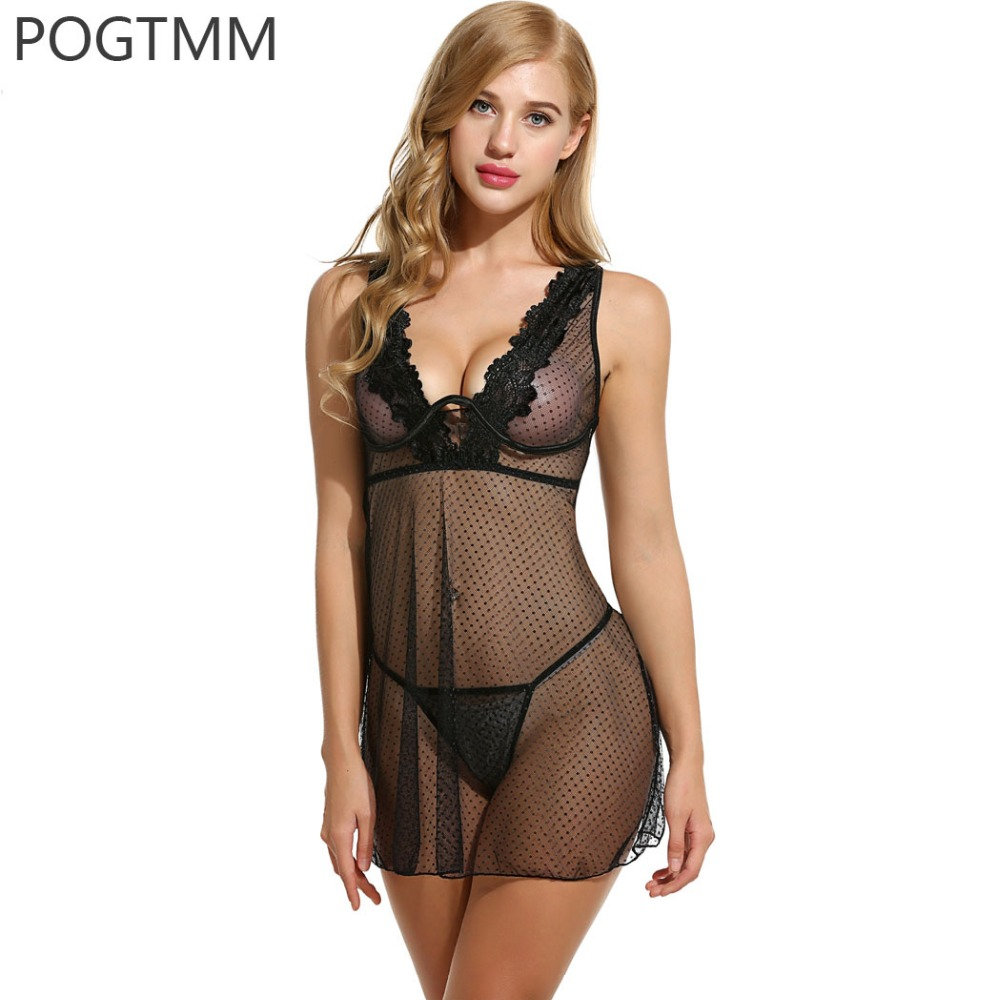 Cotton Nightgown Sexy Lingerie Dress Women Lace Mini -8533