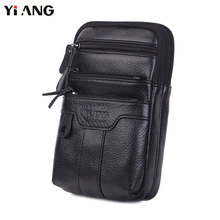 YIANG Genuine Leather Men Messenger Bag Casual Crossbody Bag Business Men's Handbags Bags for Gift Brand Small Shoulder Bag