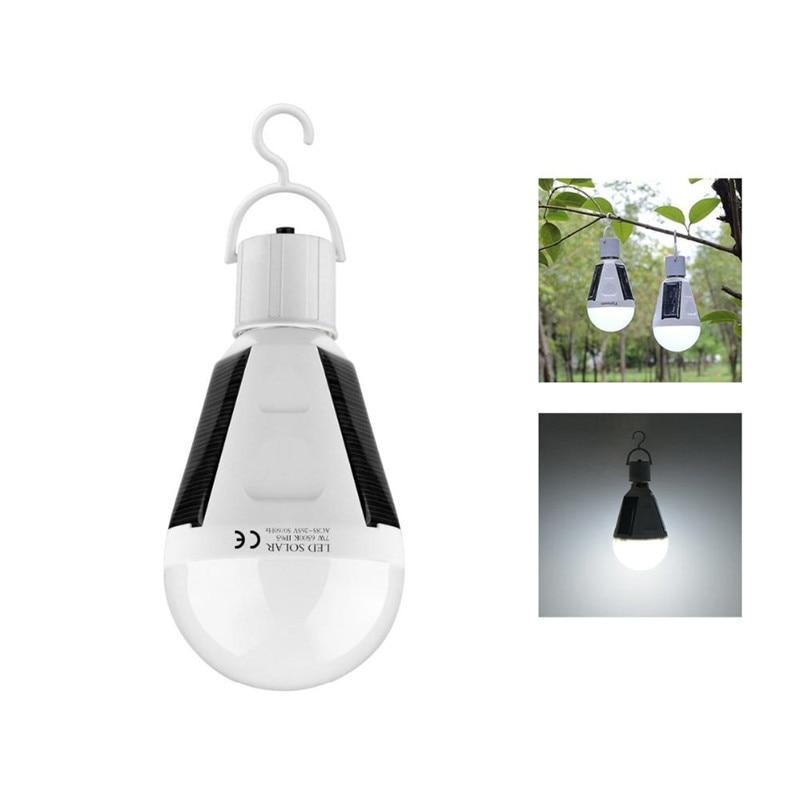 Night Lights Rechargeable Portable Waterproof Led Bulb LED Solar Lamp E27 7W AC85V 265V Camp lighitng in LED Night Lights from Lights Lighting