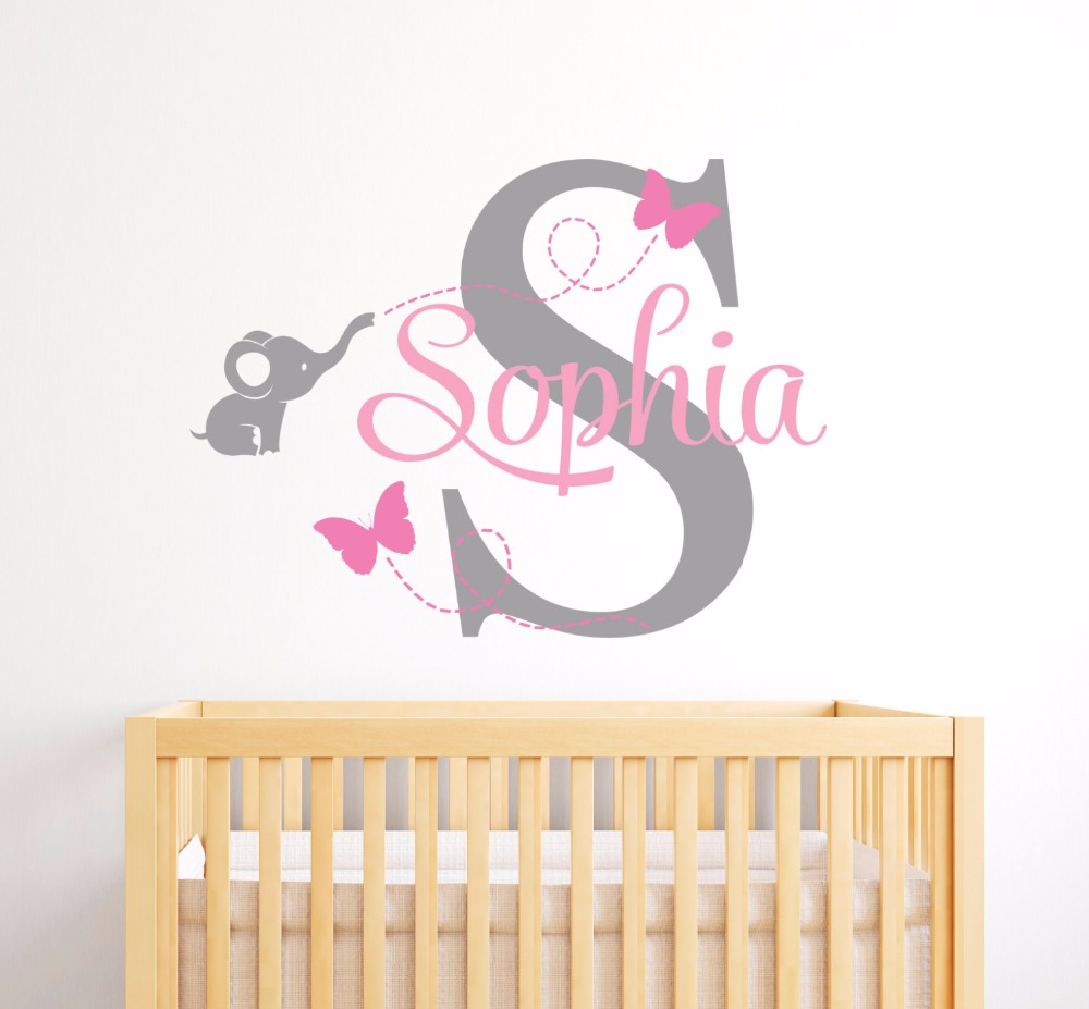 popular elephant butterfly wall decal buy cheap elephant butterfly personalized name wall sticker elephant butterfly initial wall decal for kids room girls nursery bedroom home