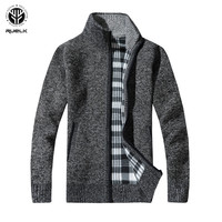 RUELK 2019 Для мужчин свитера осень-зима теплый кашемир пуловер с косой молнией свитера человек Повседневное трикотаж плюс Размеры M-XXXL