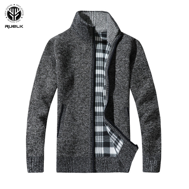 RUELK 2019 Men's Sweaters Autumn Winter Warm Cashmere Wool Zipper Pullover Sweaters Man Casual Knitwear Plus Size M-XXXL