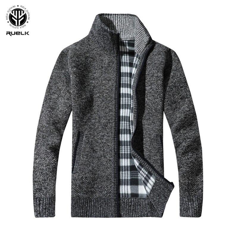 RUELK 2019 hombres suéteres de otoño invierno cálido lana de Cachemira cremallera suéteres Jersey hombre prendas Casual Plus tamaño M-XXXL
