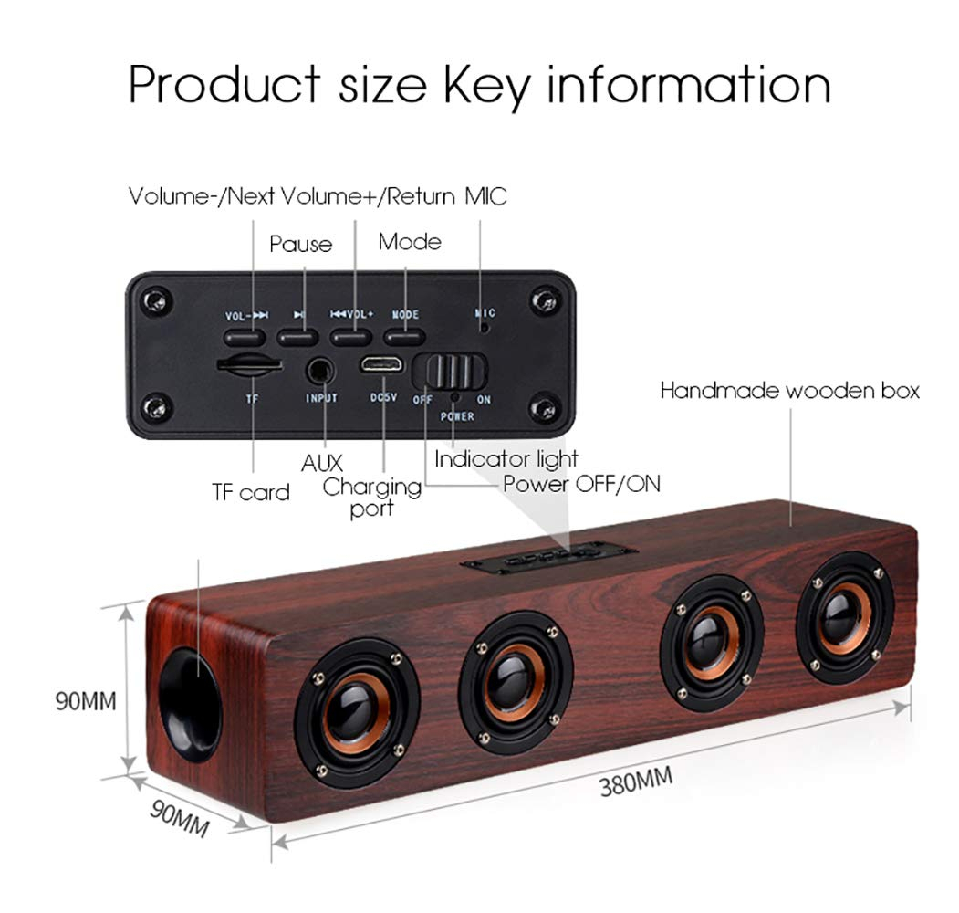 Image 4 - Wireless Bluetooth Speaker 12W Portable Subwoofer Wooden Home Audio Support TF FM Column Speakers For Outdoor PC Phones-in Portable Speakers from Consumer Electronics