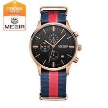 MEGIR 2011 повседневная хронограф военная водостойкой кварцевые часы мужчины световой холст ремешок наручные часы