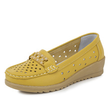 Spring Autumn Genuine Leather Shoes Moccasins Mother Loafers Soft Leisure Flats femme Driving Footwear Women Shoes 3 Colors