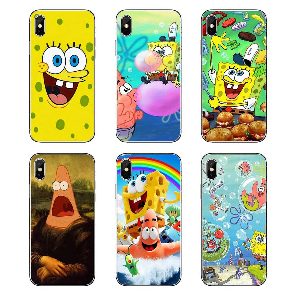 For iPod Touch iPhone 4 4S 5 5S 5C SE 6 6S 7 8 X XR XS Plus MAX SpongeBob Patrick Star Game Together Transparent Soft Case Cover