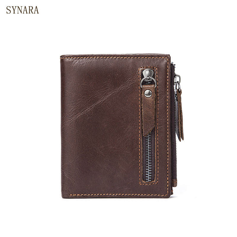 Genuine Leather Mens Wallets Brand Logo Zipper Design Short Men Purse Male Card Holder Coins Purses Wallet 2017 men business short leather wallet male brand wallets purses with card holder for men