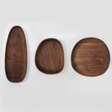 Black Walnut Irregular Shape Dish Plate Japan Style Natural Wood Trays for Fruits/Candies Multi-Use Table Decor Food Plates