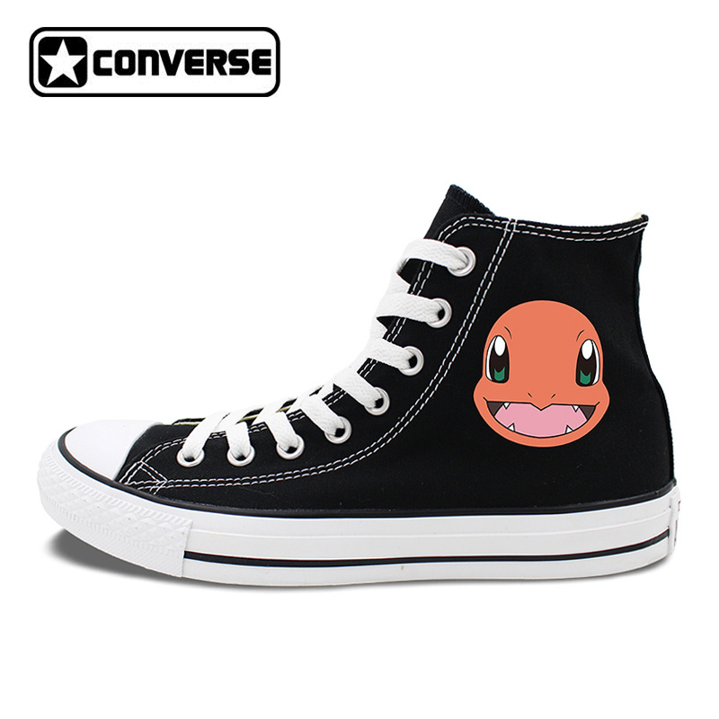 White Black Sneakers Converse All Star Design Anime Pokemon Charmander 2 Colors Can Choose for Gifts Skateboarding Shoes anime converse all star skateboarding shoes boys girls pokemon snorlax white black canvas sneakers design 2 colors