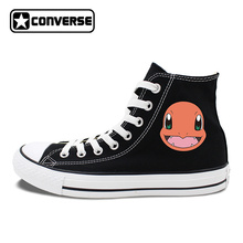 White Black Sneakers Converse All Star Design Anime Pokemon Charmander 2 Colors Can Choose for Gifts Skateboarding Shoes
