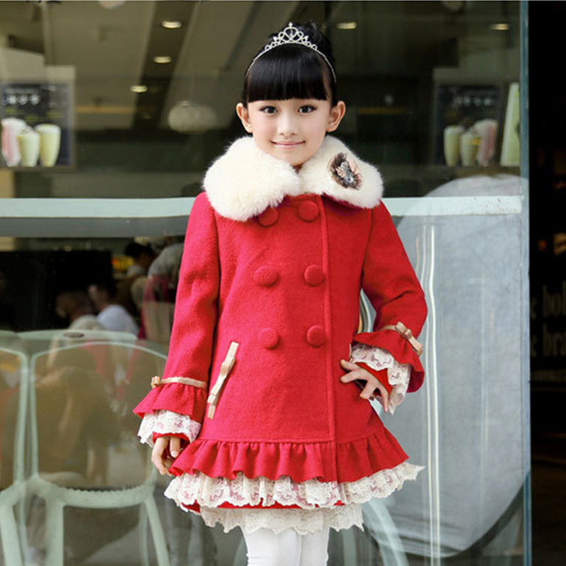ФОТО Lolita Style Children Clothing Girls Wool Winter Coats Child Double-breasted Overcoat With Fur Collar Kids Long Outwear Jacket
