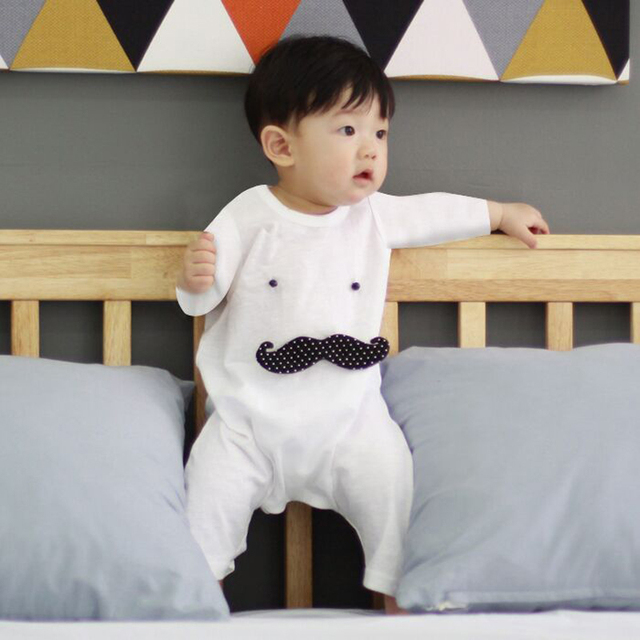 dd73c7894cb Funny clothing for newborns Baby Boy overalls cotton beard climbing clothes  white black baby rompers for