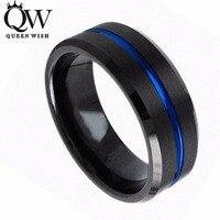 Queenwish 8mm Tungsten Carbide Ring Black Brushed Blue Stripe Wedding Band Men S Jewelry