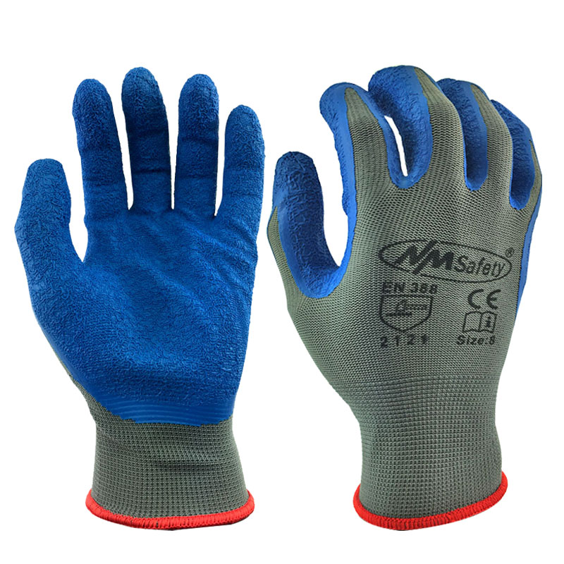 NMSafety 13 Gauge Knitted Work Gloves Textured Rubber Latex Coated For Construction Safety Protective Gloves