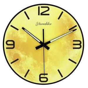 "Image 1 - הגעה חדשה עיצוב ירח אופנה מודרנית שעון קיר MDF LUMINOVA שעון קיר DIY דקורטיבי ללא מסגרת עץ 28 ס""מ"